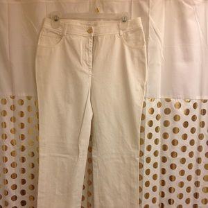 St John Caviar White Jeans Pants 6 straight leg